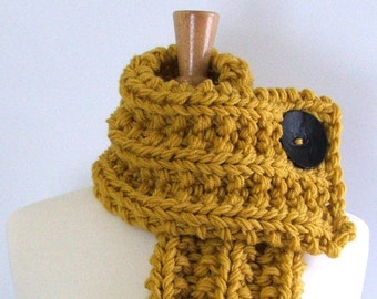 Made to Order - Chunky Knit Mustard Yellow Cowl Scarf with Large Black Button