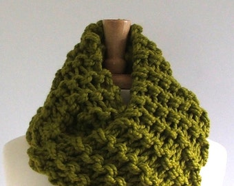Ready to Ship - Chunky Knit Lemongrass Green Long Infinity Cowl Scarf