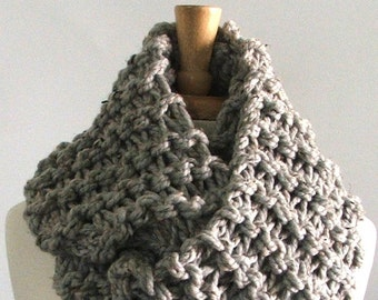 Made to Order - Chunky Knit Marbled Silver Gray Long Infinity Cowl Scarf
