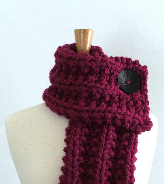 Chunky Knit Magenta Cowl Scarf with Large Black Button