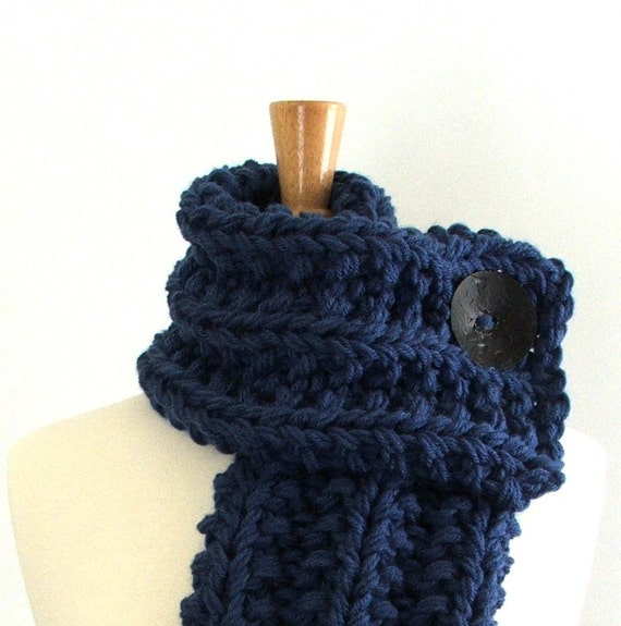 Chunky Knit Colonial Blue Cowl Scarf with Large Black Button