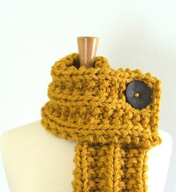 Reserved Listing for Christine - Chunky Knit Mustard Yellow Cowl Scarf with Large Dark Gray Button
