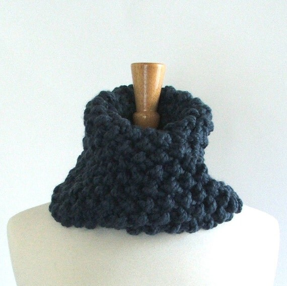Chunky Knit Denim Blue Twisted Infinity Cowl Scarf