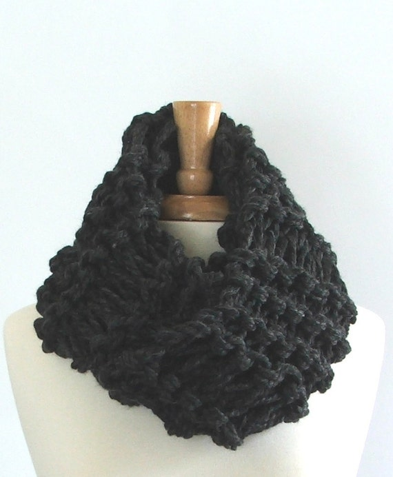 Knitted Drop Stitch Cowl Pattern : Chunky Knit Charcoal Gray Drop Stitch Infinity Cowl Scarf