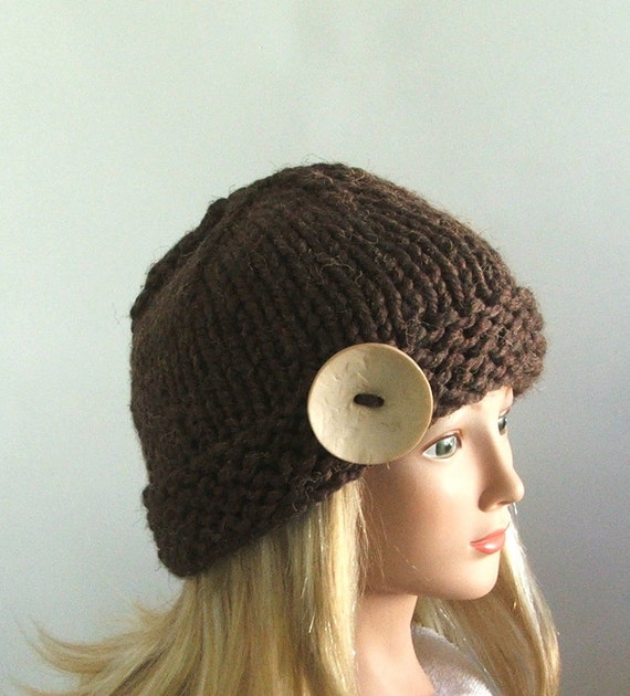 Chunky Knit Chocolate Brown Hat with Large Cream Button