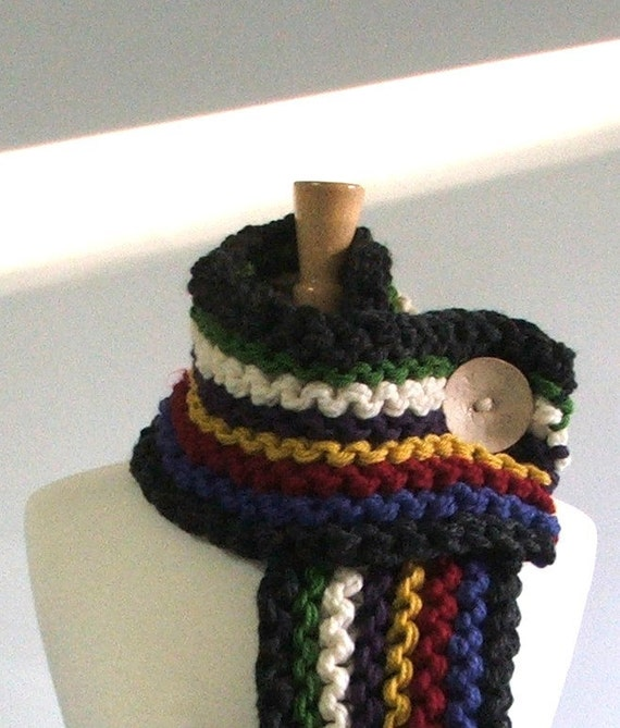 Chunky Knit Fringed Cowl Scarf in Charcoal / Sapphire / Red / Yellow / Purple / Cream / Green with Large Cream Button
