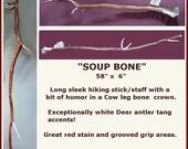 "Hiking Walking Stick & Staff of Red Cedar  58"" x 6"" Soup Bone"