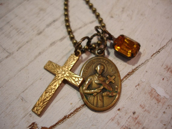 Vintage Religious Charm Necklace Cross Religious Medal Crystal Vintage Necklace