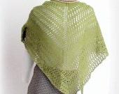 OLIVE Shawl Wool Hand Knit Triangular Fall Winter Cold Days Woman Cozy Grass Green
