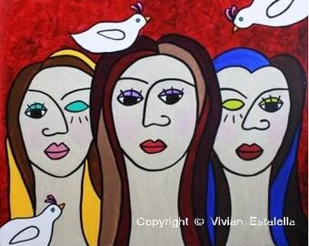 3 Beautiful Ladies, Doves-Art Print / Giclée, Original Design by Vivian Estalella 5 X 7