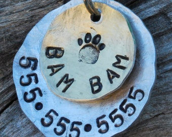 Pet ID Tag/Tags / Dog Tag / Dog Collar Tag / Personalized / Pet Charm / Keychain / Aluminum / Bam Bam