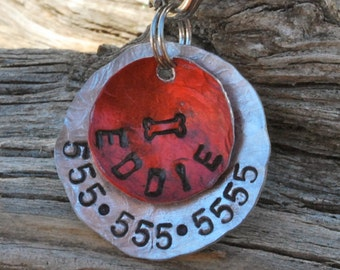 Pet ID Tag/Tags / Dog Tag / Dog Collar Tag / Personalized / Pet Charm / Keychain /Hand Stamped / Eddie