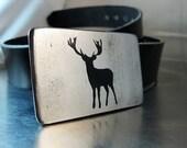 Deer Belt Buckle - Handmade - Steel - Buck
