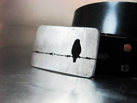 Barbed Wire Bird Belt Buckle