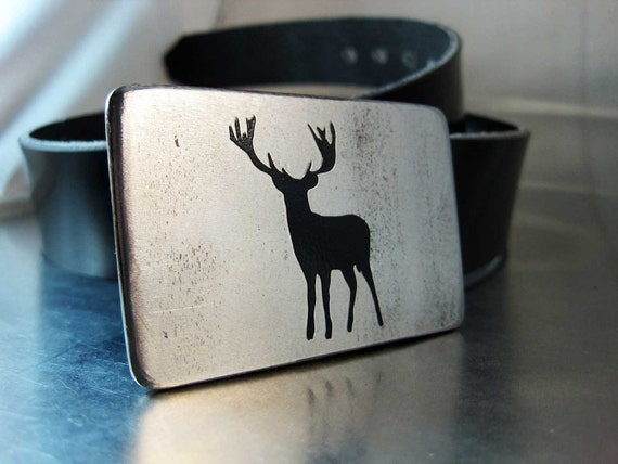 Deer Belt Buckle - Handmade - Steel - Buck