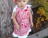 Girls A line Dress Pretty In Red A line Jumper Romper Dress with ties Matching Flower Clip Great for Christmas Newborn-4T