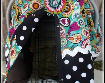 Girl Car seat Canopy Paisley Dots With bows and flower Carseat Cover