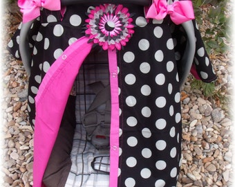 Carseat Canopy / Carseat Cover / Carseat Tent / Carseat Blanket  / Hairbows and Flower Clip / Big Dot Darlin