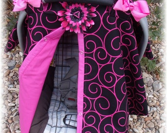Carseat Canopy / Carseat Cover / Carseat Tent / Carseat Blanket Snaps up the Front Swirly Diva