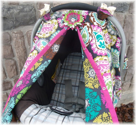 Carseat Canopy / Carseat Cover /  Paisley Baby REVERSABLE