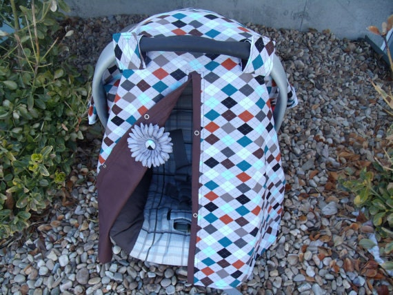 Baby Carseat Canopy Boy Argyle Carseat Cover