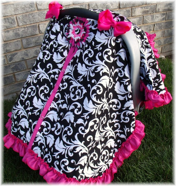 Ruffle Edge Carseat Canopy CHOOSE Your Own COLORS