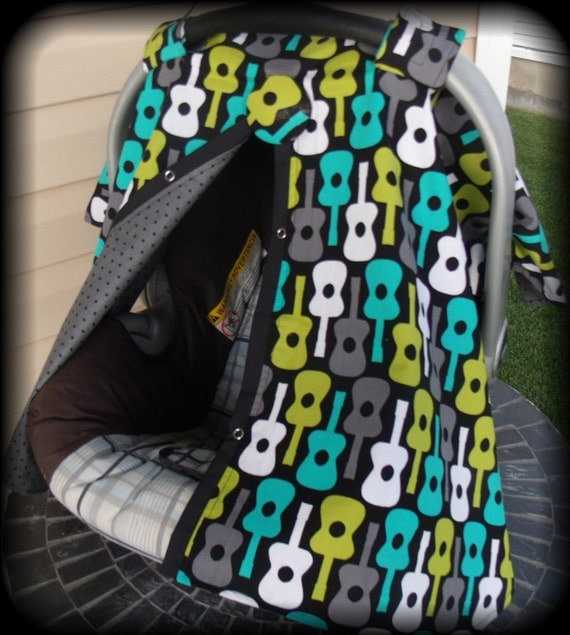 Carseat Canopy Groovy Guitars for Boy with Button Center Great for Newborn babies RTS