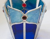 Split Crown Multi-Faceted Stained Glass Candle Holder