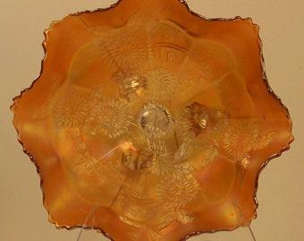 "Fenton Chrysanthemum Marigold Carnival Glass 11"" Bowl"