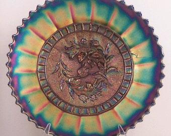 "Diamond / Dugan Windflower 9"" Blue Carnival Glass Plate"