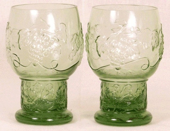 Grape and Vine Pattern Set of Two Green Glass Tumblers