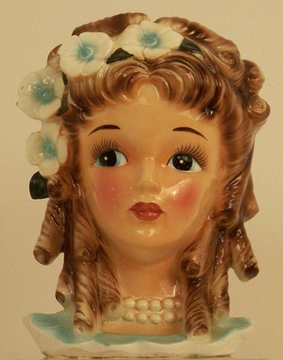 Vintage Young Lady Head Vase with Flowers