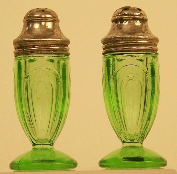 Hazel Atlas Green Depression Glass Salt and Pepper Shaker Set