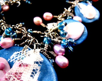 Cherry Blossom Petals Set blue and pink polymer clay necklace and earrings with freshwater pearls, blue seed beads, and lace bits OOAK