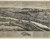 FORT FAIRFIELD 1893 historical overhead map of town