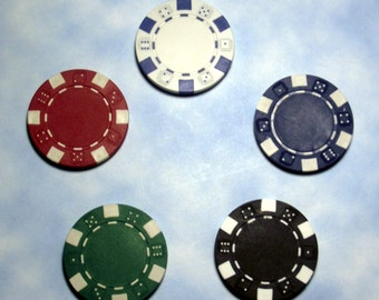 POKER CHIP Refrigerator Magnets - Set of 5 Multi-Colored chips w/extremely powerful rare earth magnets