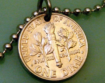 10 (ten) DIME PENDANT NECKLACE - American Torch w/Olive and Oak Branches