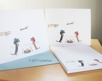 Dachshund Cow Dogs Stationery Set (10 cards, 1 notepad)