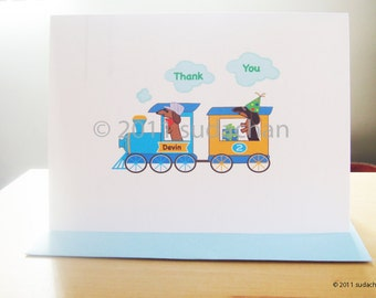 Dachshund Baby Thank You Note Cards - Dachshunds on Train (set of 10)