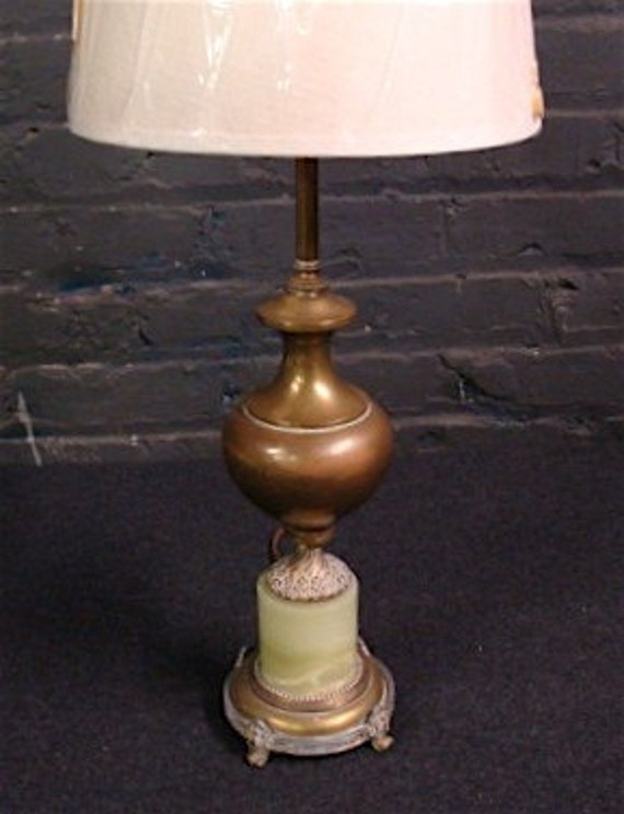 Antique French Onyx Lamp, Pale Green Stone & Old Brass