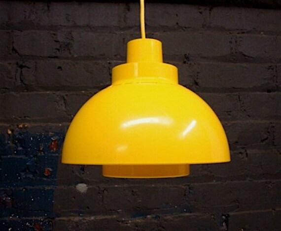 Hanging Pendant Light Danish Modern 1970s in Bright Chrome Yellow Plastic