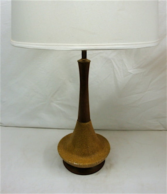 Retro Table Lamp Gold Pottery and Teak 1950's Atomic