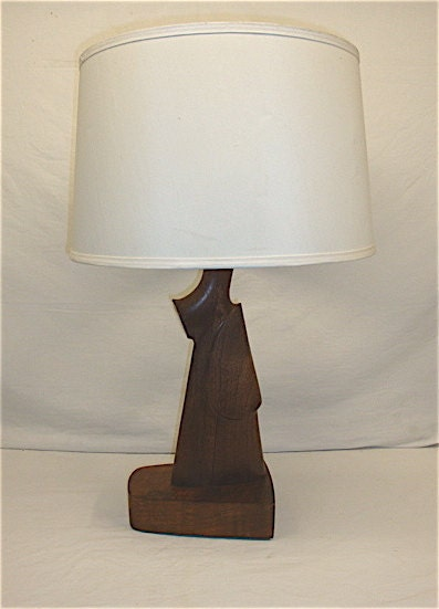 Rifle Gunstock Wood Table Lamp Unusual Handcarved Sculpture