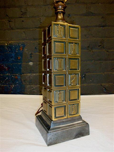 Chess Piece Lamp Square Column Antique Brass And Zinc Metal