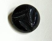 Bittersweet chocolate brown Large Vintage Bakelite leaves button