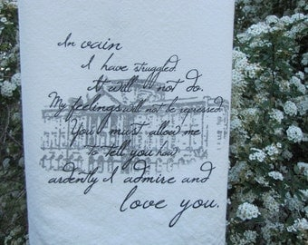 Mr Darcy's Proposal- Pride and Prejudice Tea Towel- Jane Austin, Book lover gift, hostess gift