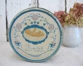 Vintage Tin Metal Round Tiny Tot Bath Powder Baby Decor Shower Gift Storage Blue Pink