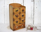 Vintage Sewing Box Wood with Drawers Notions Organization Storage