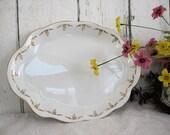 Vintage Ironstone Platter White Serving Medium Laughlin The Angelus