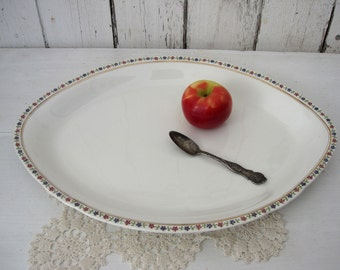 White Ironstone Antique Platter Extra Large Huge Oval Pope Gosser Floral Edge Flowers Red Green Blue Country Rustic Wedding